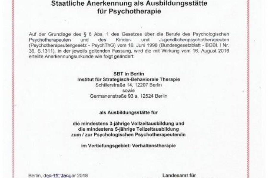 Standort vom Institut für Strategisch Behaviorale Therapie in Berlin vom LaGeSo zertifiziert!